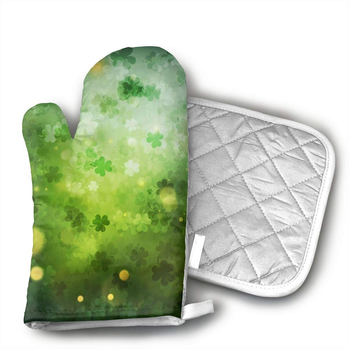 MEILVWEN St.Patrick's Day Blurry Bokeh Halos Oven Mitt and Pot Holder Set,Heat Resistant for Cooking and Baking Kitchen Gift