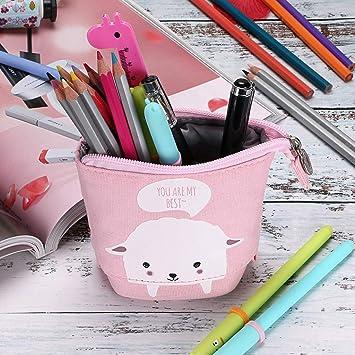 BTSKY Estuche para Lápices Papelería de Lona Variable con Dibujos Animados para niños Color Rosa+Blanco Ovejita: Amazon.es: Oficina y papelería