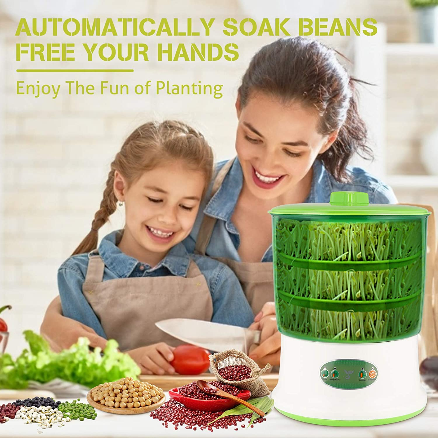 3-Layer Constant Temperature Large-Capacity Seed Germination Kit Bean Sprout Machine,YUIO LED Display Control Time Automatic Watering Bean Sprouts Machine