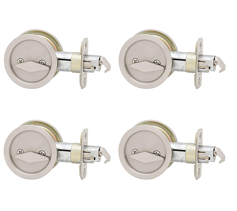 Kwikset 335 Round Bedbath Pocket Door Lock In Satin Nickel Door