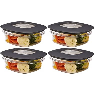 Rubbermaid New Premier Food Storage Container, 1.25-Cup, Grey (4-Pack)
