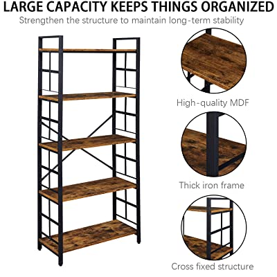 Brown Oak OIAHOMY Industrial Bookshelf,5-Tier Vintage Bookcase and Bookshelves,Rustic Wood and Metal Shelving Unit,Display Rack and Storage Organizer for Living Room