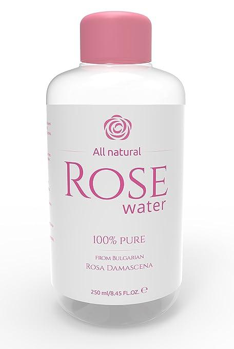 Agua de Rosas 100% Pure de búlgaro rosa Damascena – 250 ml – Limpiador facial