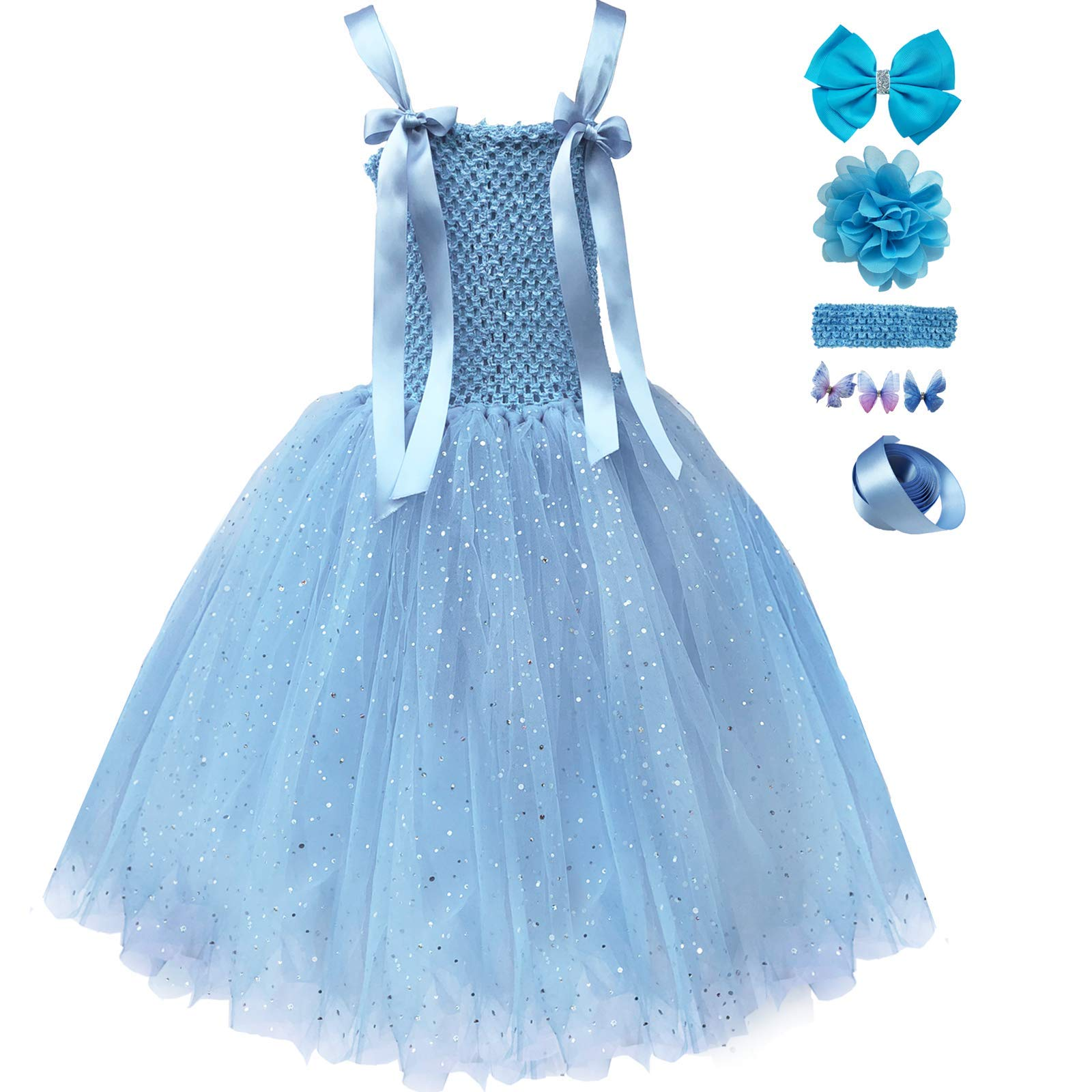 f3b55e7c4 Galleon - Girls Princess Tutu Elsa Party Dress Sequin Tulle Sleeveless Long  Birthday Dresses For Baby And Toddler Girll (2T-3T, Light Blue)