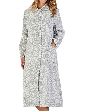 92e239e76d Slenderella Ladies Floral Dressing Gown Soft Flannel Fleece Button Up  Collar Bathrobe XXL (Grey)