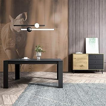 Mc Haus Mesa Rectangular Salón Comedor Trotter Madera Negro 160 x ...