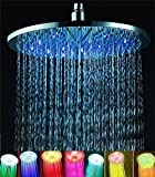 "7 colors 8"" Rainfall Round Bathroom Shower Head RGB LED Flash Light"