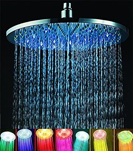Home Improvement Shower Heads New Colorful Led Shower Head 7-color Changing Shower Head No Battery Led Waterfall Shower Head Round Bathroom Showerhead