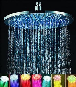 ELENKER 7 Colors 8u0026quot; Rainfall Round Bathroom Shower Head RGB LED Flash  Light