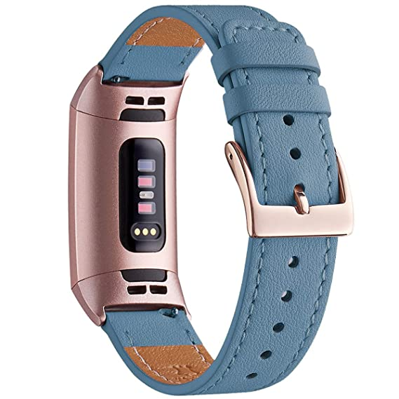 WFEAGL Compatible for Fitbit Charge 2/Charge 3/3 SE Fitness Activity  Tracker, Top Grain Leather Band Strap Wristband Replacement of Many Colors  (Cape