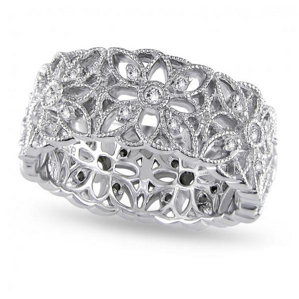 Ladies Vintage Style Diamond Accent Carved Flower Band Prong Set in Sterling Silver with 0.33ct