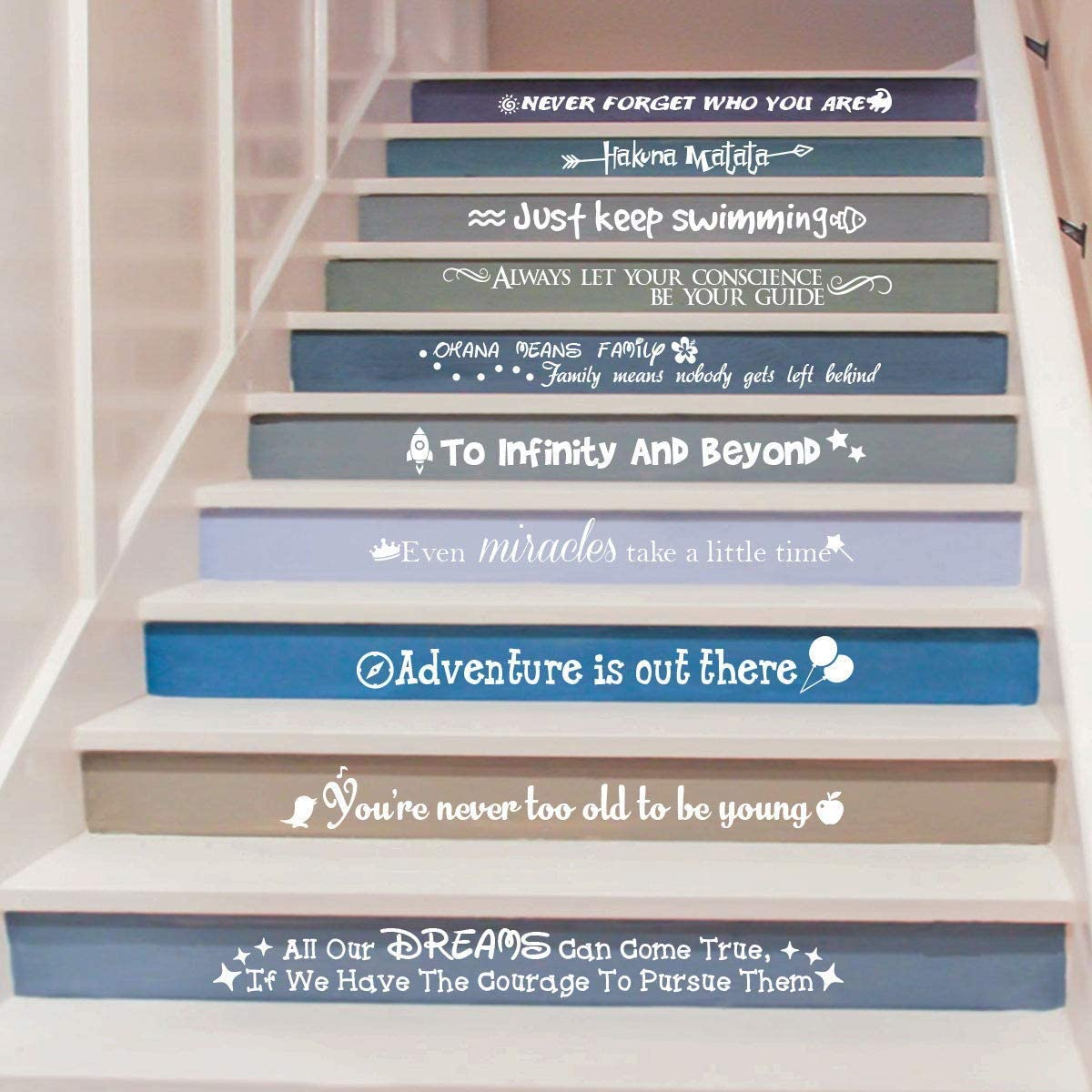 Ewdsqs Stairway Decals Quote Wall Sticker for Stairs Staircase Decor Stair Vinyl Disney Quotes Stairway Decals Set 10 Family Decor Bedroom Home Housewarming Gift