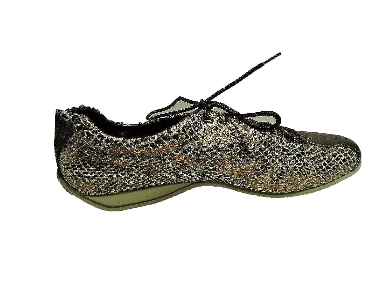 Stuart Weitzman Womens Russiahour Brass Sport Tennis Sneaker, Leather Lace up Pulls Flat Shoes Size 5.5 M
