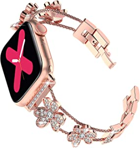 Ritastar Bracelet for Apple Watch Band Bling Rhinestone Stainless Steel 44mm 42mm Women,Girly Replacement Jewelry Wrist Strap,Czech Diamond Shamrock,Adjustable Metal Clasp for iWatch Series 5 4 3 2 1