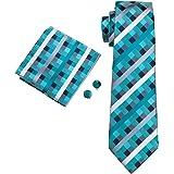 Hi-Tie メンズ ネクタイ チェック柄 フォーマル  ビジネス ブルー 3点セット