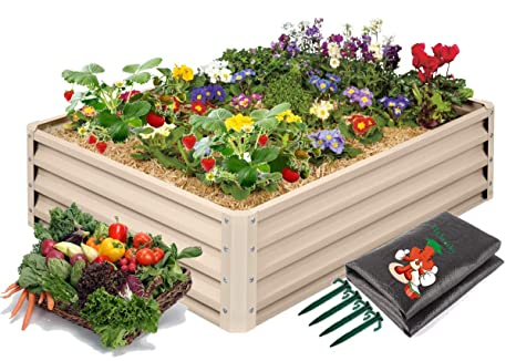 Metal Raised Garden Bed Kit Elevated Planter Box For Growing Herbs Vegetables Flowers And Succulents 1 Amazon In Garden Outdoors