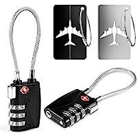 2 TSA Cerradura de Equipaje+2 Etiquetas para Equipaje