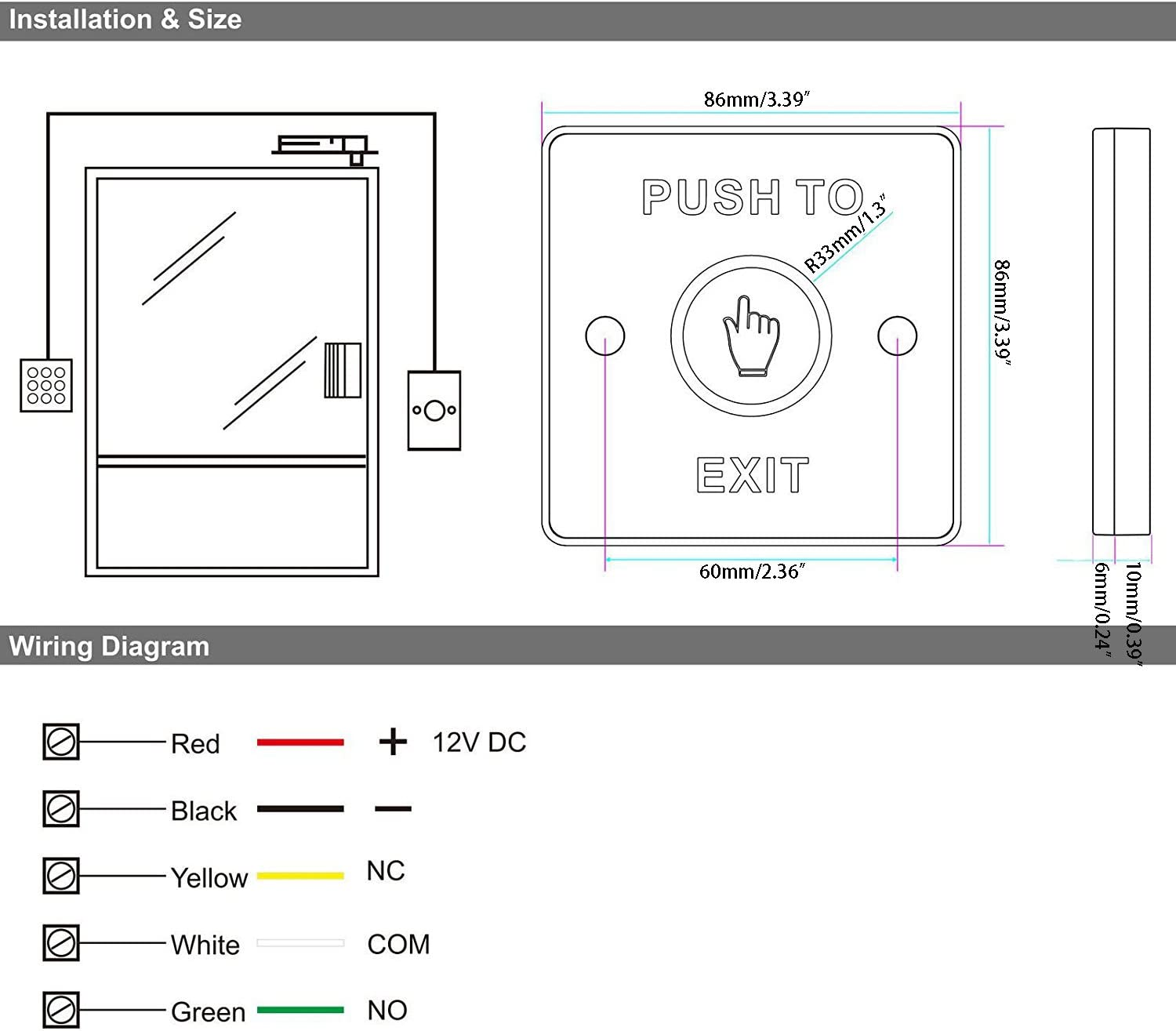 Wall Mount Piezoelectric Door Release Touch Exit Button Panel Led Light Switch - -