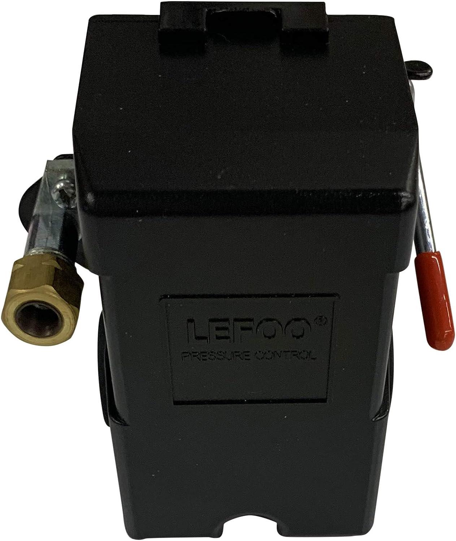 Fltaheroo Interruptor De La V/áLvula De Presi/óN Del Compresor De Aire Medidores De Regulador De Alivio De Colector 90~120 Psi 240V 17X15.5X19Cm