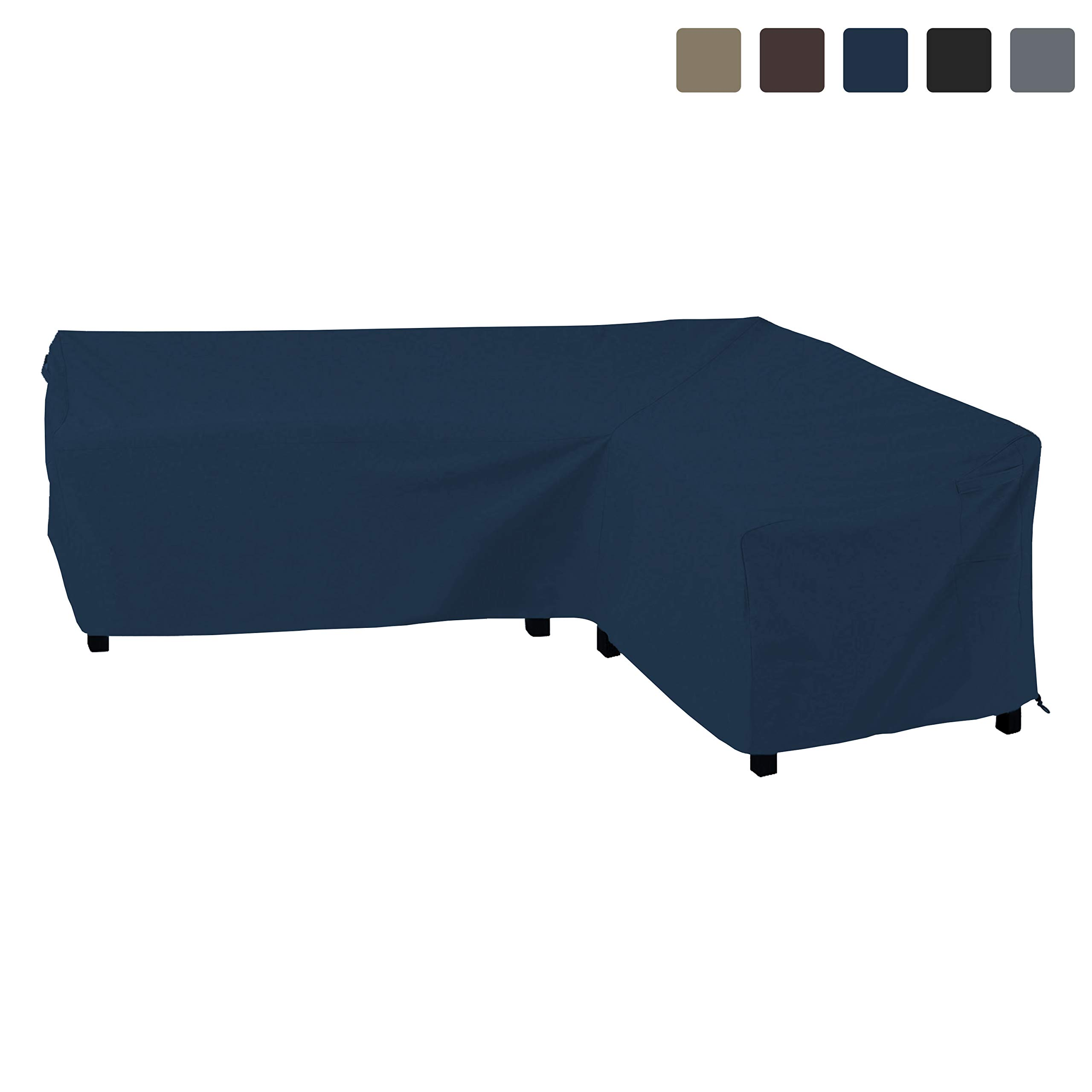 COVERS & ALL Patio Sectional Sofa Cover 12 Oz Waterproof - 100% UV & Weather Resistant PVC Coated 83'' x 104'' x 32''D x 31'' H - L Shape Sofa Cover for Indoor/Outdoor (Right Facing Sofa, Blue)