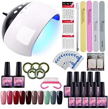 Saint-Acior 8ml Esmalte de Uñas en Gel de 10pcs Secador de Uñas 24W UV/LED Base Coat Top Coat Kit de Manicura: Amazon.es: Belleza