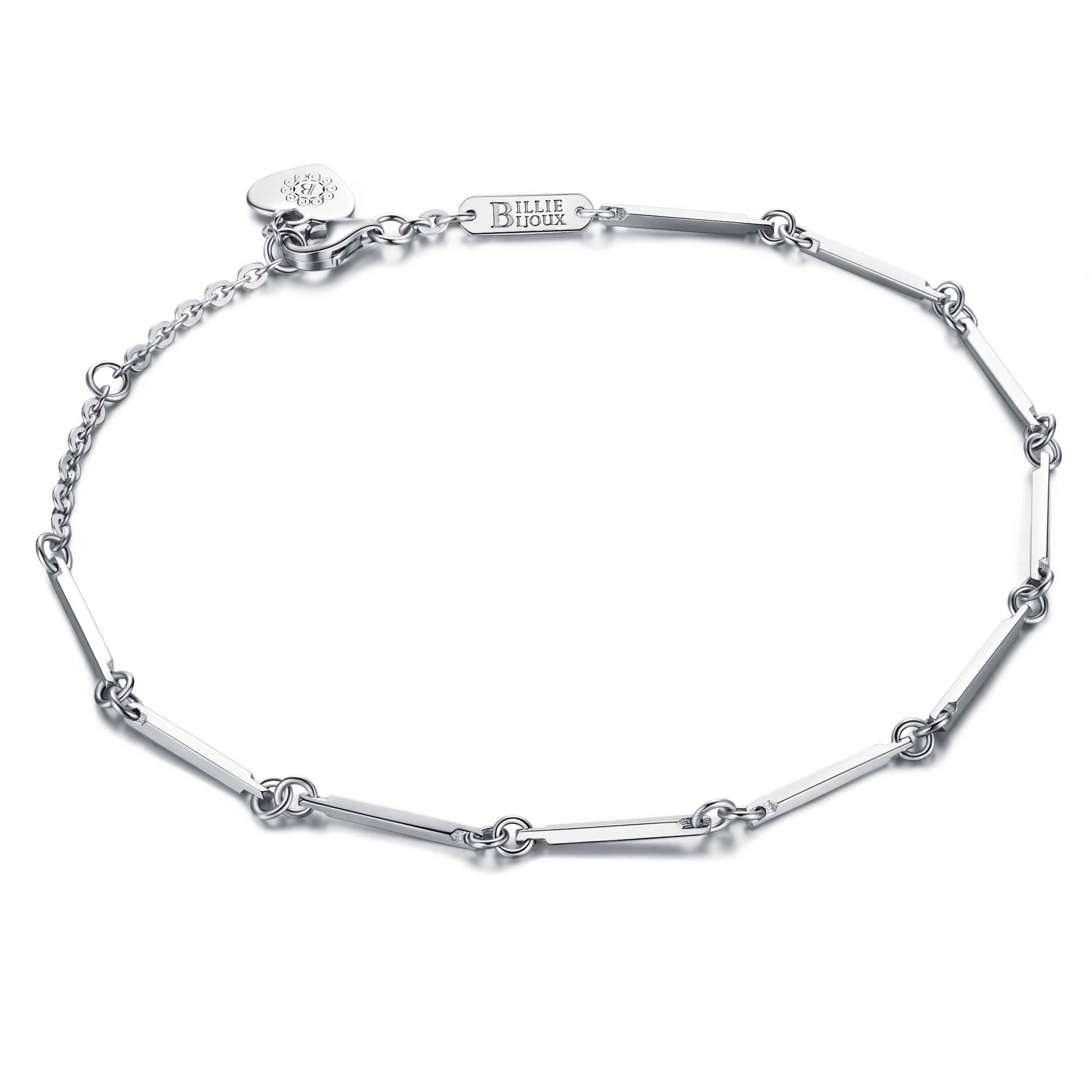 Billie Bijoux Womens 925 Sterling Silver Simple Elegant Chain Bracelet Small Anklet for Women Girls White Gold Plated