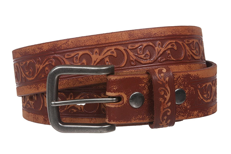 MONIQUE Women Cowhide Full Grain Leather Floral Pattern Silver Buckle 1.5 Belt