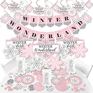 Big Dot of Happiness Pink Winter Wonderland - Holiday Snowflake Birthday Party and Baby Shower Supplies - Banner Decoration Kit - Fundle Bundle