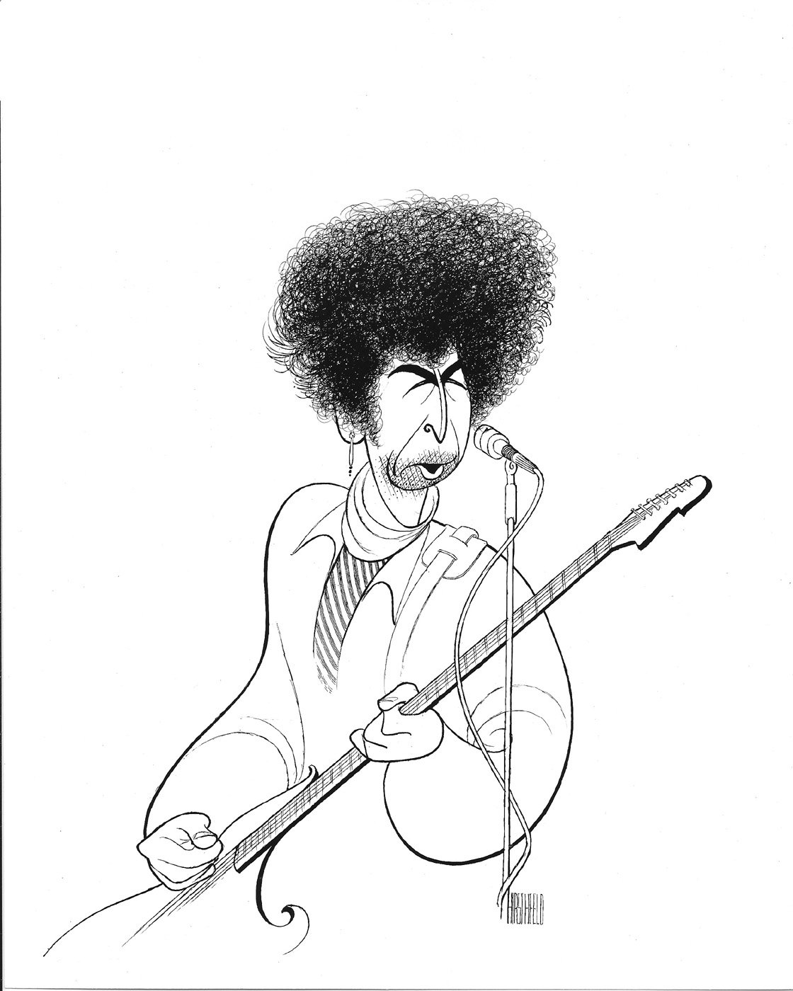 AL HIRSCHFELD'S Portrait of BOB DYLAN, Hand Signed by Al Hirschfeld, C of A, Ltd Ed AL HIRSCHFELD' S Portrait of BOB DYLAN THE MARGO FEIDEN GALLERIES LTD. New York