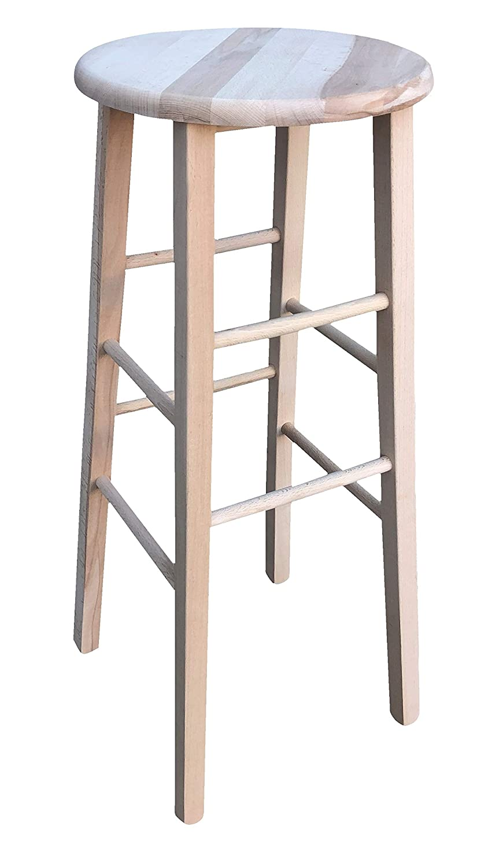 OKAFFAREFATTO MADDALONI Sgabello in legno massello con seduta rotonda alto 80 cm da terra alla seduta, nuovo già montato, grezzo da verniciare gambe dritto