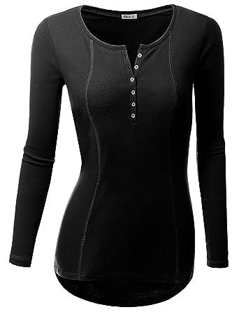 9f412151 Doublju Basic Thermal Henely T-Shirts for Women with Plus Size Black Medium