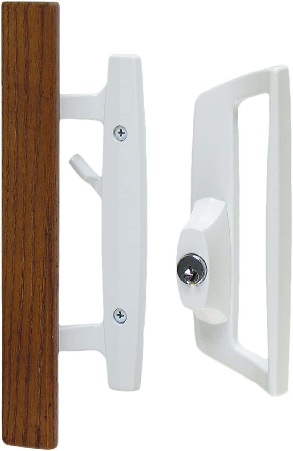 """Standard 3-15//16/"""" CTC Screw Holes Bali Nai Sliding Glass Door Handle and Mortise Lock Set with Oak Wood Pull in White Finish Includes Key Cylinder 1-3//4 Door Thickness- For RIGHT HAND Doors"""