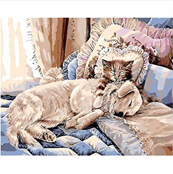 wubaiaiwo Sin Marco Rotura del Mediodía DIY Pintura Al Óleo Digital por Números Gato Cama Pintura para Colorear por Números Decoración Casera Perro 40X50 ...