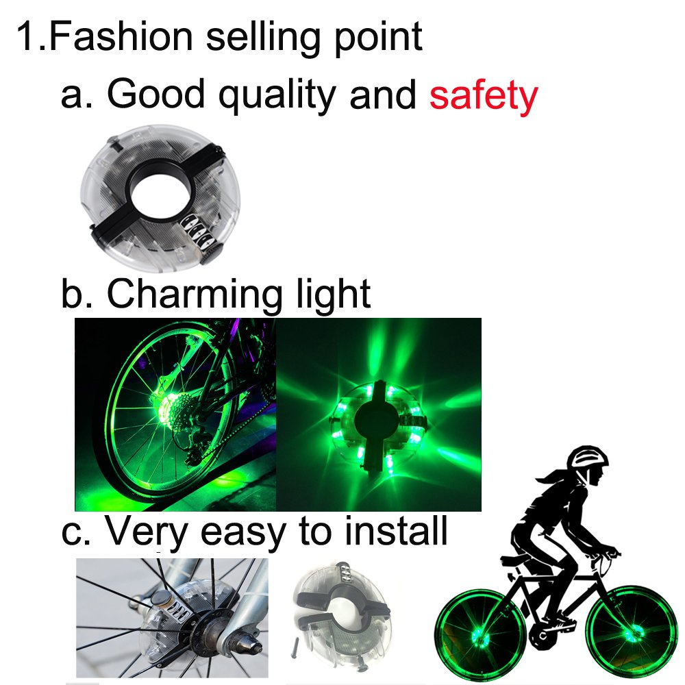 Cycling Bike Spoke Light Safety Light hub light Chiyou 2 Pack 8 led Waterproof LED Bicycle Wheel Light Bicycle Accessories Lamp