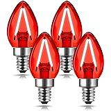 Red LED Light Bulb, DORESshop C7 Candelabra LED Light Bulbs, E12 Chandelier Base, 20W Incandescent Equivalent, Night Light Bu