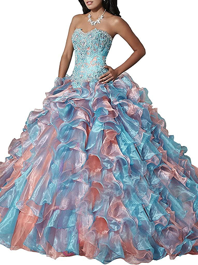 Chumuse Womens Sweetheart Beaded Quinceanera Dresses 2018 Ruffles Prom Gowns for Sweet 16
