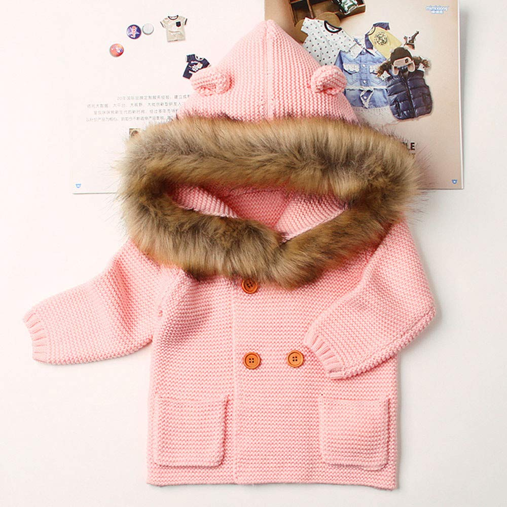 OVERMAL/_Baby Coats Winter 2019 New Toddler Baby Boys Girls Fur Collar Hooded Knitted Tops Warm Coat Clothes