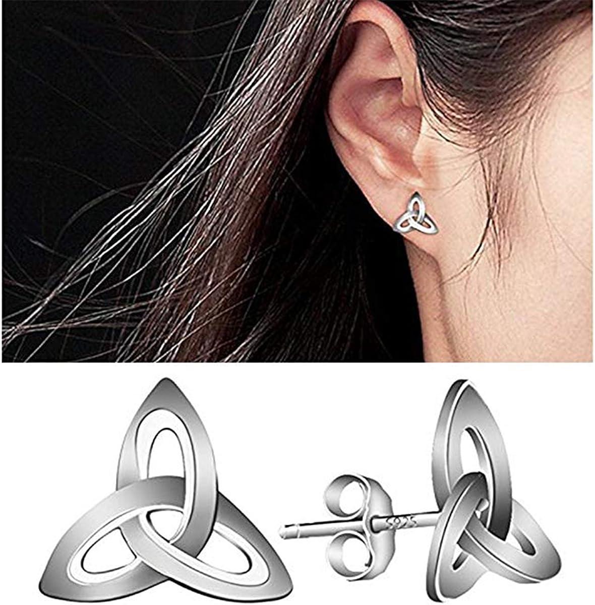 Celtic Earrings Sterling Silver Hypoallergenic Knot Studs Trinity Triquetra Earrings Pierced Jewelry Gift for Women Girls