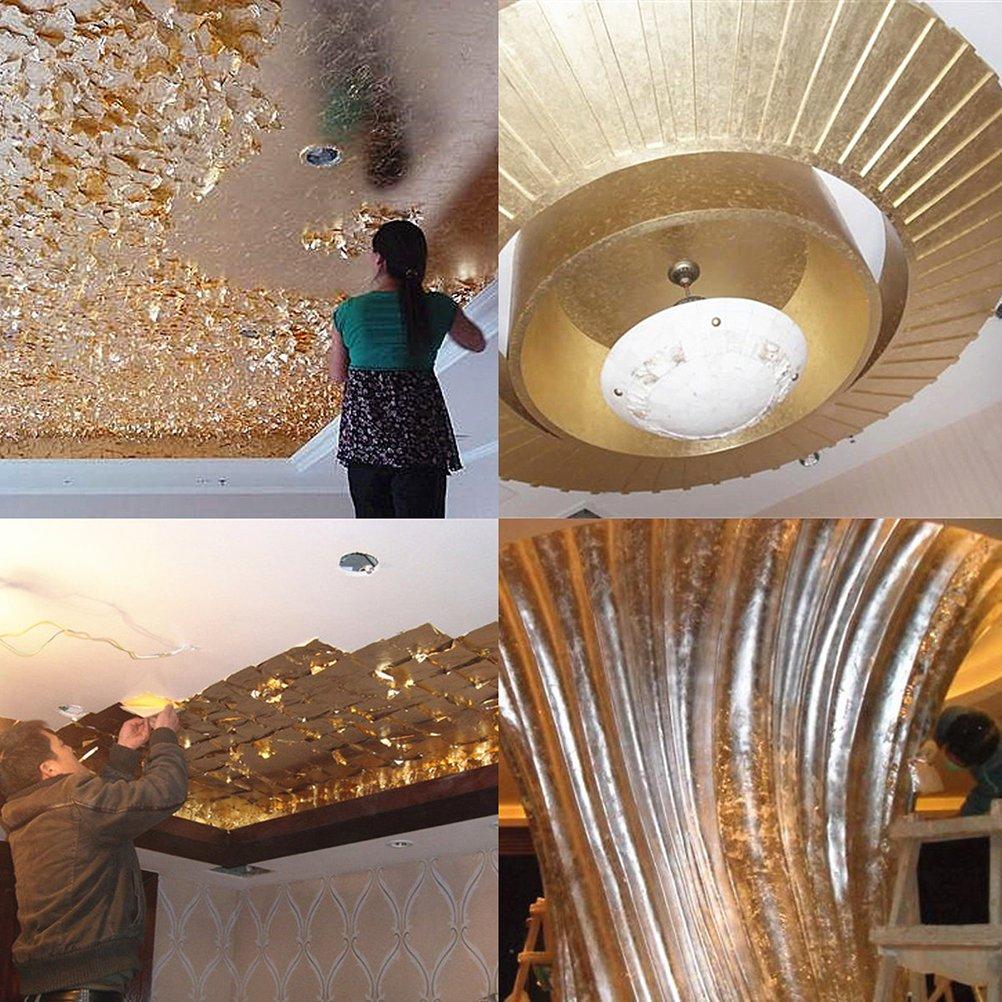 ULTNICE 300 unids hoja de oro de imitaci/ón de oro para la decoraci/ón de muebles de bricolaje artesan/ías dorado + plata + cobre