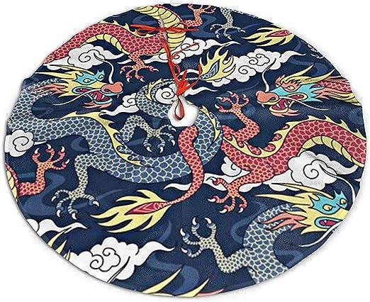 Myrdora Falda de árbol de Navidad Nube Dragón China Fiesta de ...
