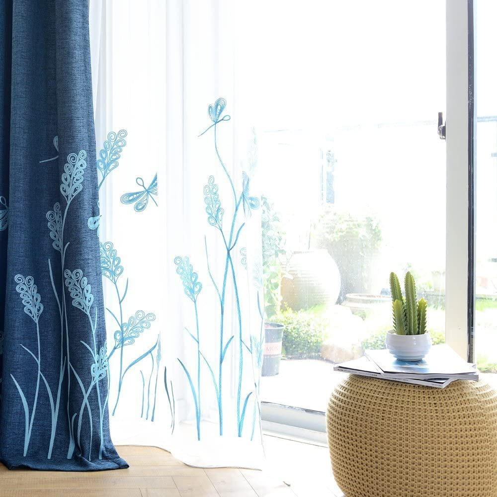 Melodieux Wheat Embroidery Sheer Curtain for Living Room Bedroom, Farmhouse Style Rod Pocket Voile Drape, White/Blue, 52 by 84 Inch (1 Panel)