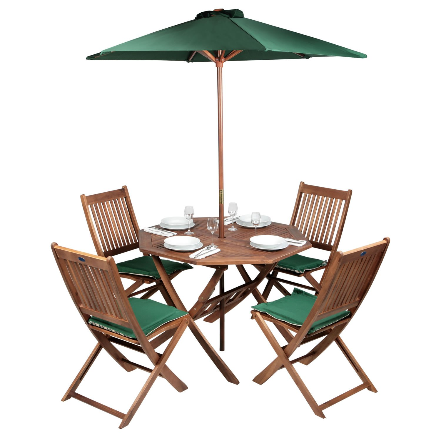 Patio 4 Seater Dining Set Acacia Hardwood Octagonal Folding