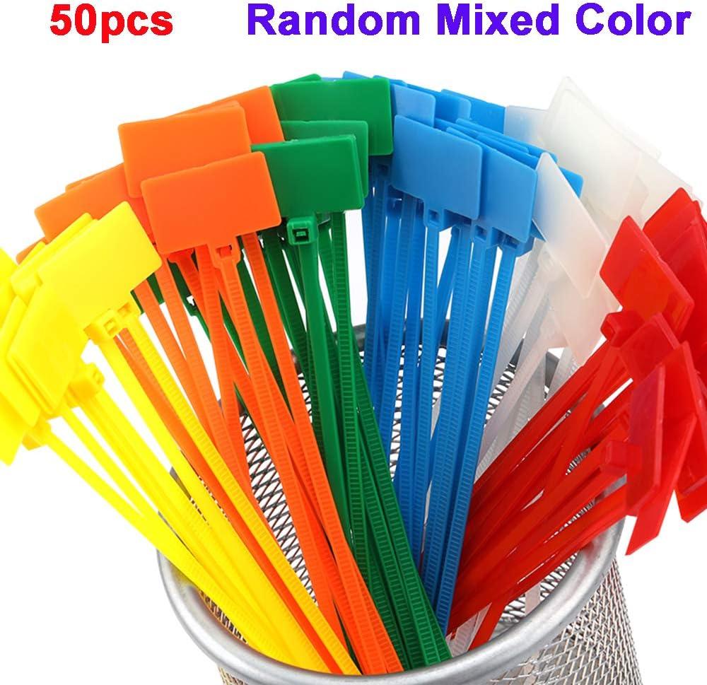 Deyan 50 pcs 4 150 mm Marqueurs Boucle en Plastique Nylon Auto-Verrouillage Fil Cravates /Étiquettes C/âble Enrouleur Tag