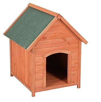 Caseta para exteriores (Madera de pino marrón con machimbre – Casa Perros Verde Impermeable para
