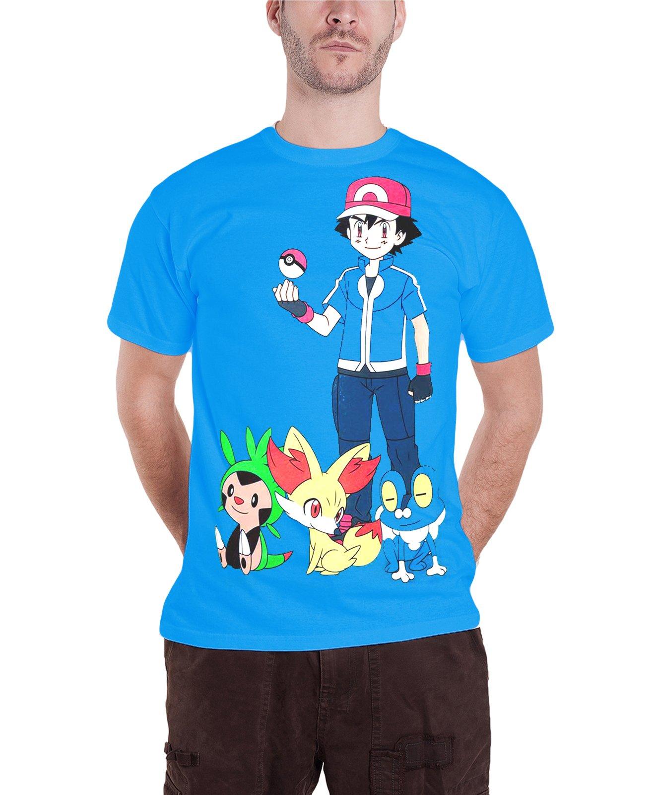 Pokemon T Shirt S Ash Ketchum Game Blue 5798