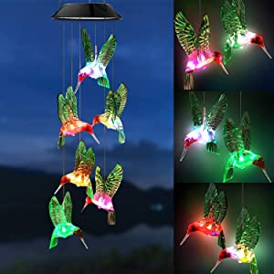 GSBLUNIE Solar Wind Chimes for Outside, Hummingbird Wind Chimes Outdoor Color Changing Waterproof Hanging Mobile Wind Chime for Home Garden Decoration, Gifts for mom, Birthday Gifts for Women