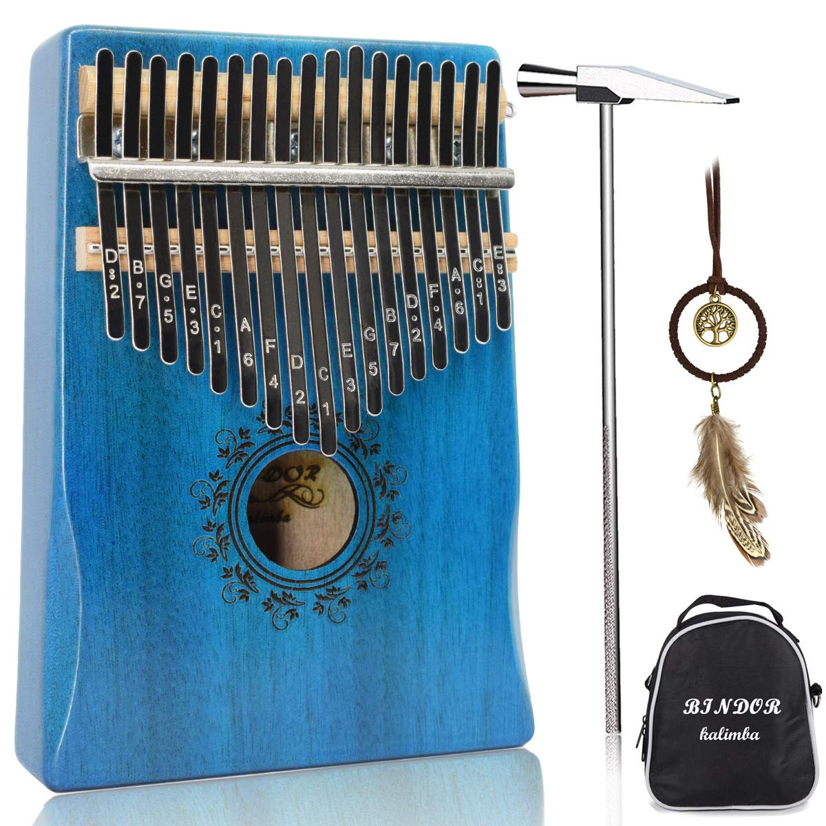 17 Key Kalimba Thumb Piano, Bindor Finger Piano Mbira Kalimba Solid Mahogany Body Portable Easy-to-learn Musical Instrument with Tuning Hammer (Blue) by BinDor