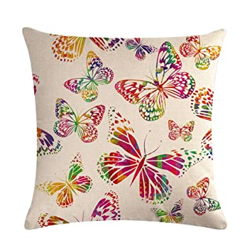 Ruikey Funda de Almohada de Moda Color Mariposa Almohada Cubierta Cojín Sofá Cama Decoración del Hogar 45 * 45 CM