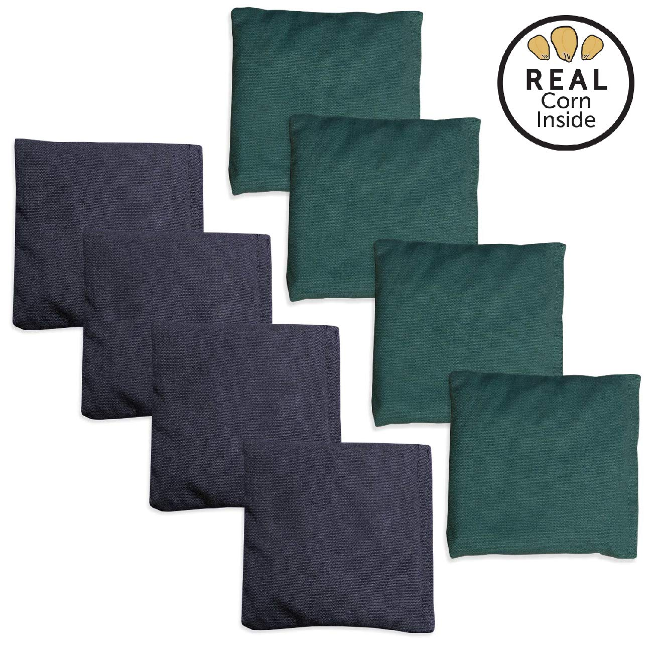 Corn Filled Cornhole Bags - Set of 8 Bean Bags for Corn Hole Game - Regulation Size & Weight - Hunter Green & Navy Blue