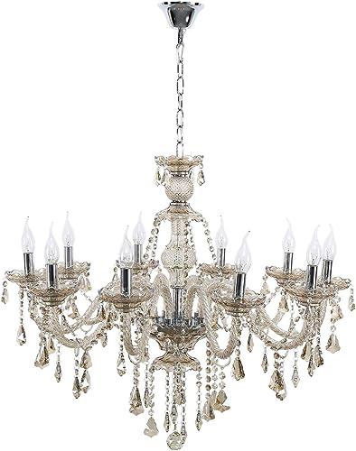 Ridgeyard E12 40W 10 Ligths Cognac Crystal Candle Style Chandelier Ceiling Lighting Pendant Luxury Romantic Lamp